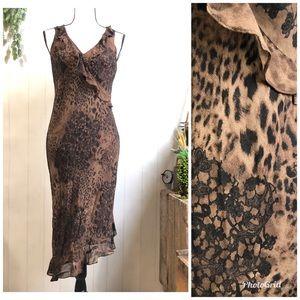 Vintage Donna Ricco V Neck Midi Cheetah Dress